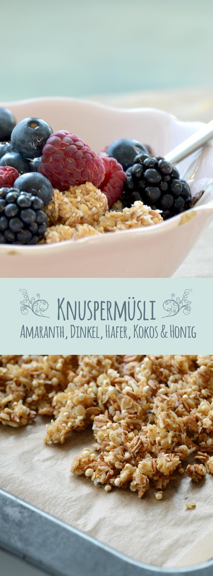 Knuspermüsli mit Amaranth, Kokos-, Dinkel und Haferflocken & Honig